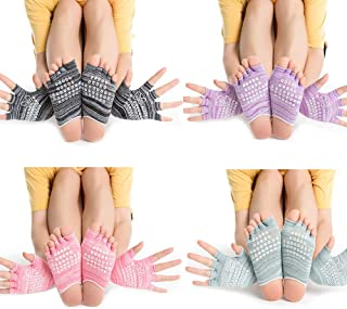 4 Pairs Yoga Socks and Non Slip Gloves Cotton Socks Ballet Workout Socks with Grips Dance Five Finger Non Slip Socks Womens