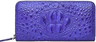 Leather Clutch Bag Women's Wallet Long Leather Clutch Bag Crocodile Skin Skull Clutch (Color : Blue, Size : S)