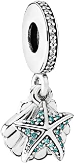 PANDORA Tropical Starfish & Sea Shell Dangle Charm, Sterling Silver, Frosty Mint & Clear Cubic Zirconia, One Size