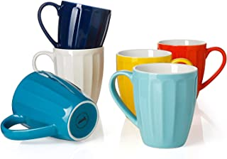 Sweese 602.002 Porcelain Fluted Mugs - 14 Ounce for Coffee, Tea, Cocoa, Set of 6, Hot Assorted Colors