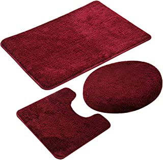 3 Piecse Bathroom Rug Set,Non-Slip Bath Mats for Floors,Ultra Soft, Absorbent and Comfortable U-Shaped Contour Rug, Floor Mat and Toilet Lid Cover (Wine Red)