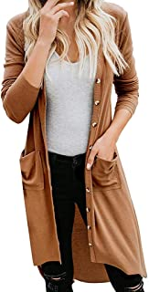 Womens Snap Button Down Pocketed Open Front Long Knited Solid Color Cardigan Outerwear Coats