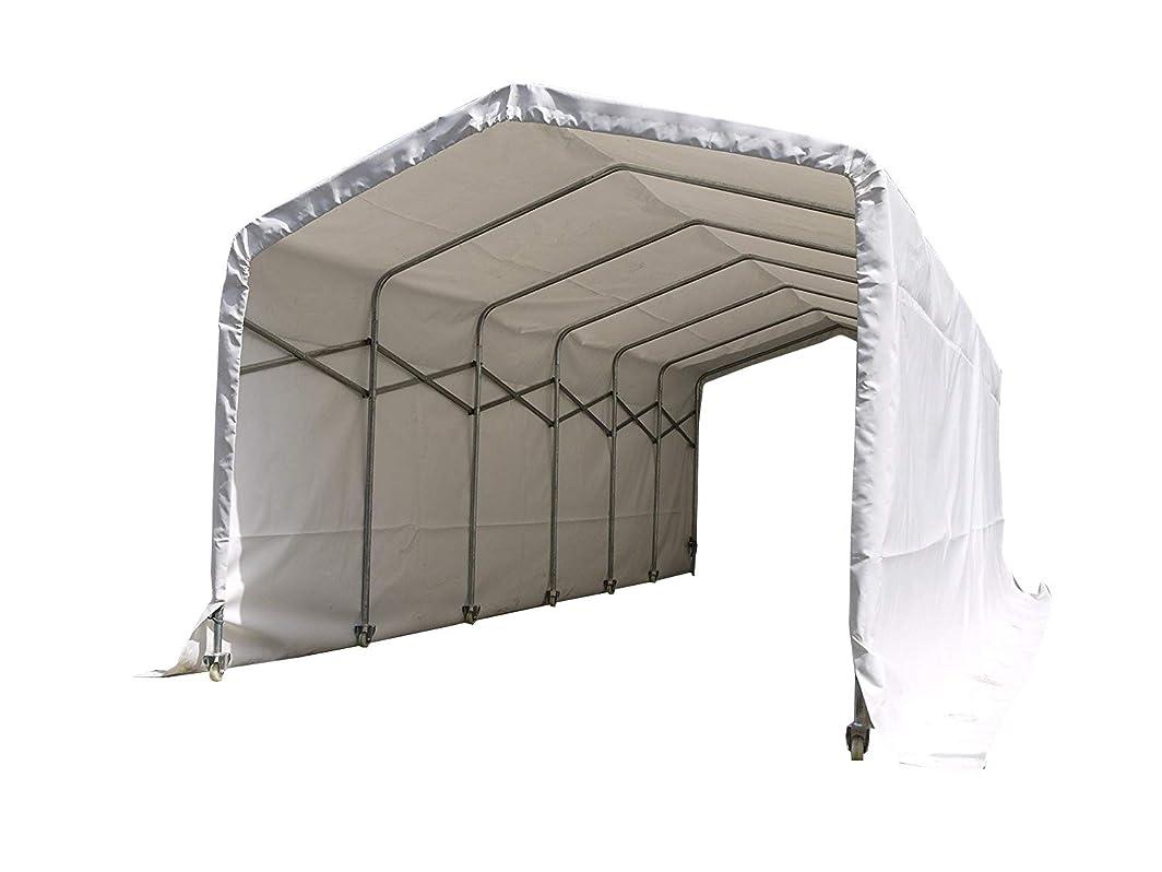 たぶんピット勇者伸縮式移動簡易テント●BELLOWS SHED(ベローズシェッド)●2.6mx6.1m●車庫テント倉庫ガレージ格納庫パイプガレージ作業場プレハブ