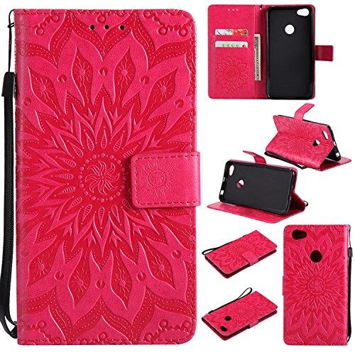 Guran® Funda de Cuero para Xiaomi Redmi Note 5A Smartphone Función de Soporte con Ranura para Tarjetas Flip Case Cover-Rojo