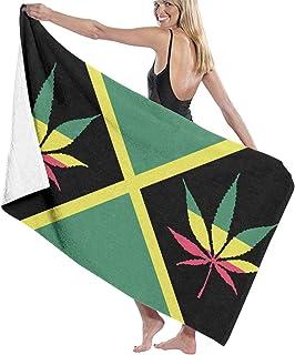 Toallas de baño HHHDAM con diseño de la bandera de Jamaica, hojas de marihuana, tamaño extragrande, toalla de playa para piscina, toalla de natación para adultos, mujeres, niños, viajes, Blanco, Una talla