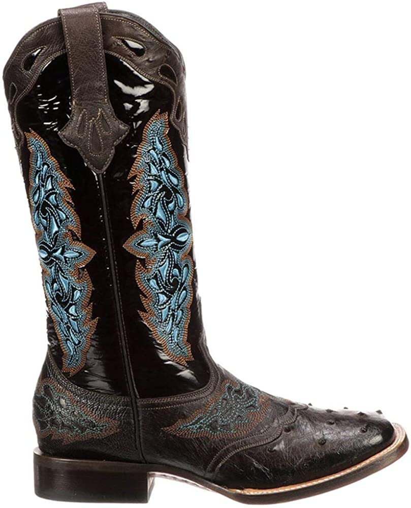 Lucchese Women's Amberlyn Ostrich Embroidery Square Toe Cowboy Boots Western