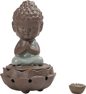 Small Ceramics Buddha Statue Incense Holder Indoor Handmade Lotus Flower Home Decor Sandalwood Coil Incense Burner