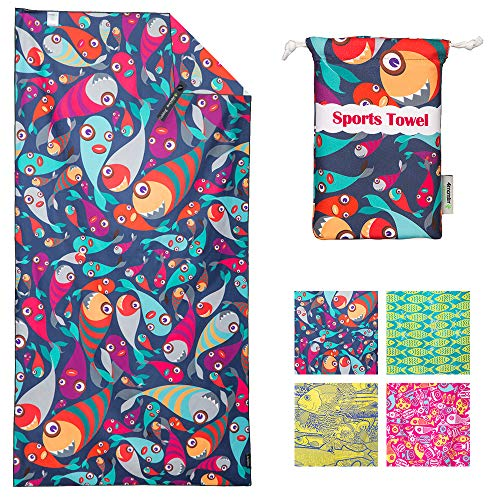 4Monster Microfiber Beach Towel Quick Dry,Super Absorbent Lightweight Towel for Swimmers, Sand Free Towel, Beach Towels for Pool, Swim, Water Sports