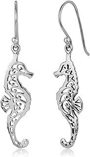 925 Sterling Silver Open Filigree Seahorse Dangle Hook Earrings 1.88 inches