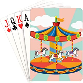 QIAOLII Funny Playing Cards Amusement Park Merry-go-Round Modern Playing Cards Unique For Kids & Adults Card Decks Games Standard Size