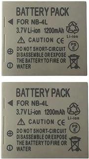 2 Piezas 1200mAh NB-4L NB4L Batería para Canon IXUS 50 55 60 65 80 75 100 I20 110 115 120 130 IS 117 220 225 (2 pcs Battery)