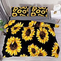 sunflower pattern bedding
