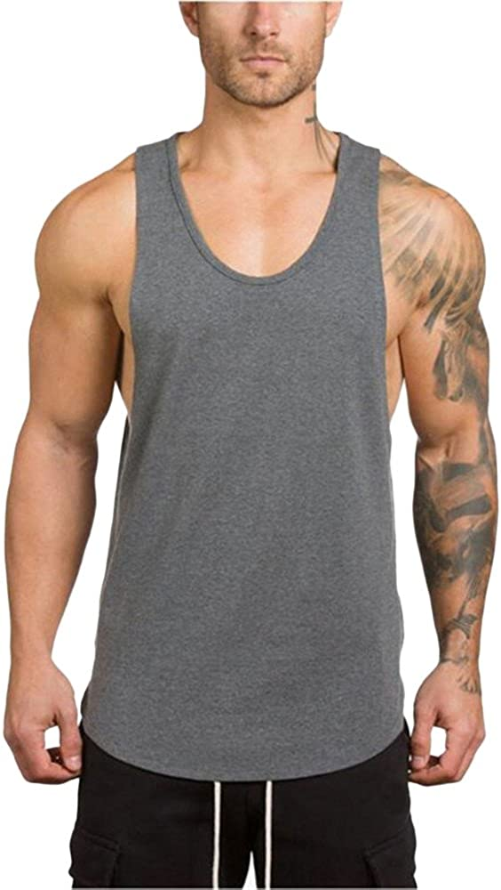 F_Gotal Men's Gym Workout Bodybuilding Stringer Tank Top Shirts Solid Color Casual Sleeveless Hoodie Muscle T-Shirt Vest