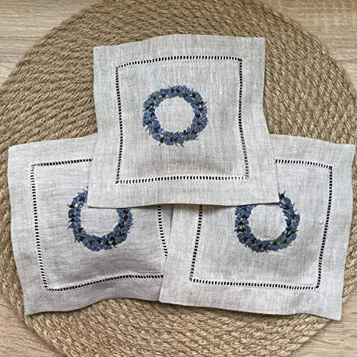 "Hand Embroidered Lavender Pillow Sachet Bag ""Lavender Crown"" Natural Linen Cushion 6'x6', Set of 3"
