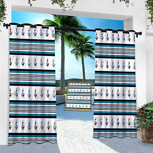 Cortina para patio al aire libre, ancla, figuras de ancla hipster, 95 pulgadas de largo, resistente panel interior para porche, balcón, pérgola, toldo de carpa de campaña (1 panel)