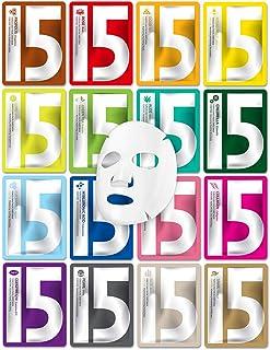 YURICOS Daily Facial Sheet Mask 22ml Combo 16 Pack - Moisturizing, Nourishing, Pore Tightening, Hyaluronic Acid and Panthe...