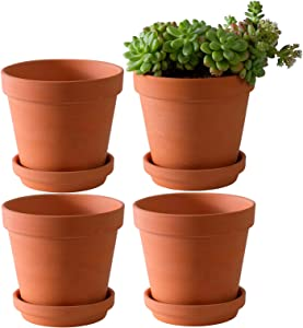 Large Terra Cotta Pots with Saucer- 4 Pack Large 6'' Terra Cotta Plant Pot with Drainage Hole, Flower Pot with Tray, Terracotta Pot for Indoor Outdoor Plant