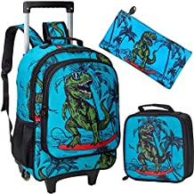 Rolling Backpack for Boys, Wheeled Dinosaur Bookbag with Lunch Box Pencil Box - 3PCS
