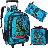 3PCS Rolling Backpack for Boys, Wheeled Kids Dinosaur Bookbag
