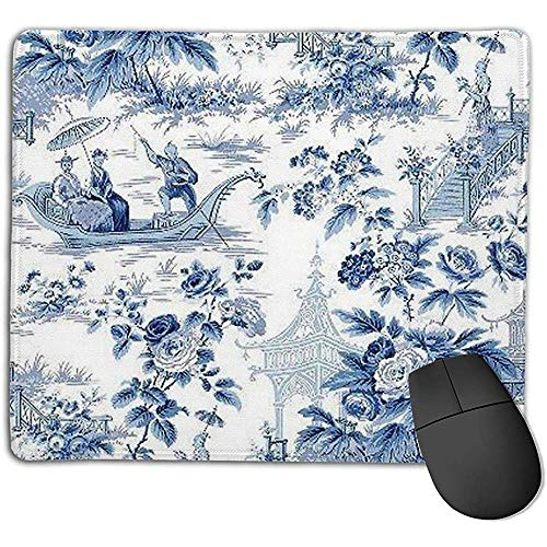 Muis Pads Chinese Stijl Poeder Blauw Chinoiserie Toile Muis Matten Anti-Slip Rubber Base Mousepad Mat Voor Computers Thuis Office Laptop Gaming Mouse Pad 25X30Cm