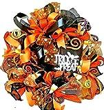 ALL THE BEST ALWAYS Pre-Lit Halloween Trick or Treat Wreath Handmade Deco Mesh LED Light Up Door Decor