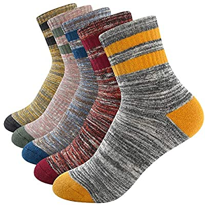 Womens Mens Hiking Walking Socks Outdoor Recreation 5 Pairs Socks Multi Performance Wicking Cushion Crew Socks for Men Women Girls Boys