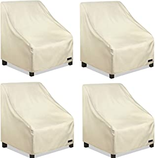 NettyPro Waterproof Patio Chair Covers 4 Pack, 600D Heavy Duty Outdoor Seat Cover, 26W x 28W x 28H inch, Beige