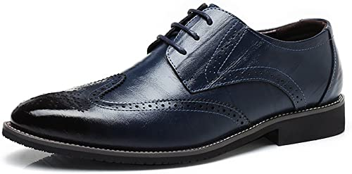 SCSY-Chaussures Oxford Hommes Simples en Cuir véritable Brogue Brogue Chaussures Wingtip Creux Sculpture Dentelle à Lacets Bloc Talon Affaires Oxfords (Couleur   Bleu, Taille   10MUS)  vente de sortie
