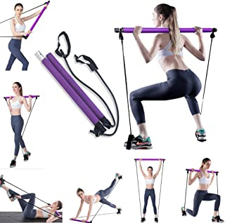 calliven Portable Pilates Exercise Bar, Premium Pilates Stick Bar with Resistance Band, Yoga Pilates Stick Total Body Work...