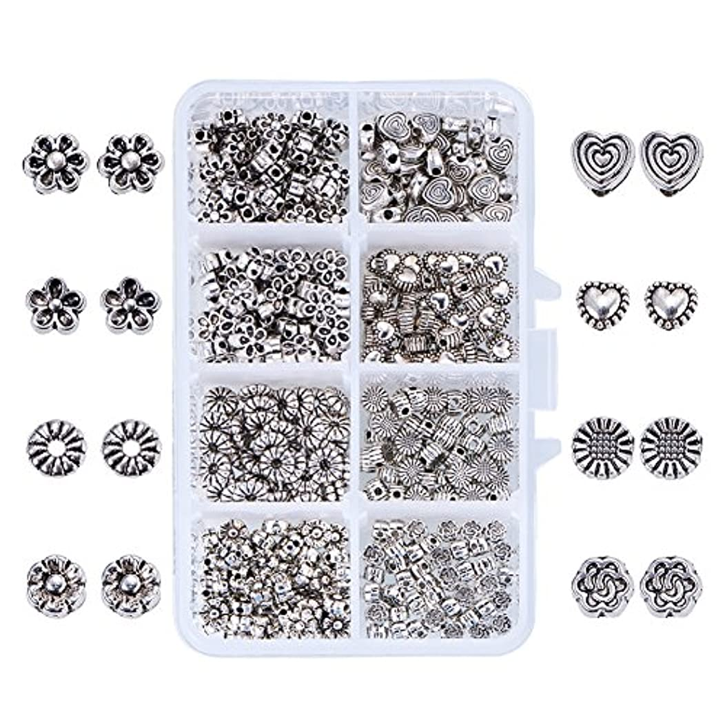PH PandaHall 400pcs 8 Style Antique Silver Tibetan Alloy Spacer Beads Flower Heart Metal Spacers for Bracelet Necklace Jewelry Making