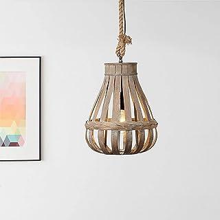 Lightbox Lámpara colgante de bambú auténtico, portalámparas E 27, para bombillas de máx. 60 W, moderna lámpara colgante de metal y bambú, color marrón claro
