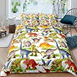 Loussiesd Juego de ropa de cama infantil con diseño de dinosaurios, funda nórdica con 2 fundas de almohada de 3 piezas de...