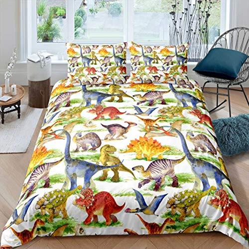Loussiesd Juego de ropa de cama infantil de 135 x 200 cm, diseño de dinosaurios, funda nórdica para niñas, de microfibra, calidad celestial, con 1 funda de almohada de 80 x 80 cm, individual,