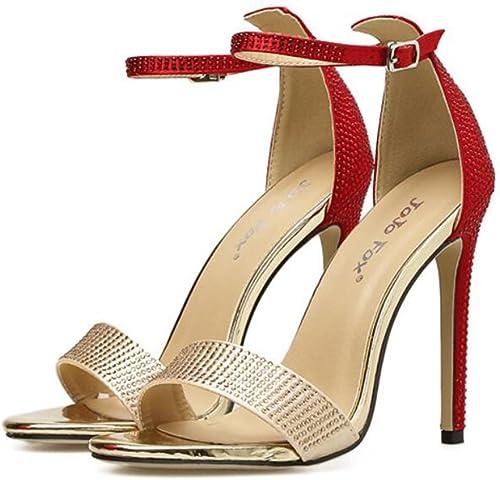 GAOLIXIA Femmes Open Toe Sandals PU Strass Boucle Boucle Métallique Glamorus Mode Ankle Strap Pompes Simple T-Sangle Talons Hauts  nous fournissons le meilleur