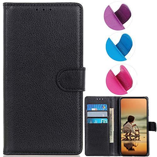 YOUKIT Schutzhülle für Motorola Moto Z4, Premium-PU-Leder, Flip-Folio-Cover mit Kartenschlitz, Magnetverschluss, Ständer (stoßfeste TPU-Innenhülle) für Moto Z4 (schwarz)