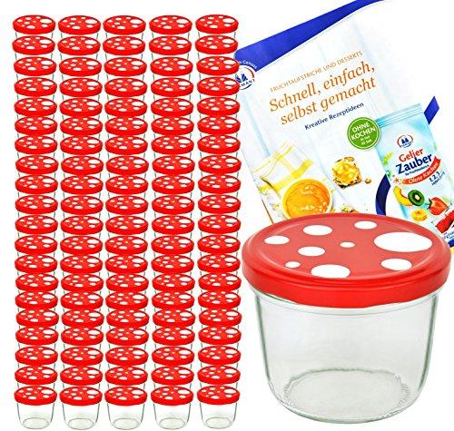 MamboCat 100er Set Sturzglas 230 ml to 82 Fliegenpilz Deckel rot weiß gepunktet incl. Diamant Gelierzauber Rezeptheft Marmeladenglas Einmachglas Einweckglas