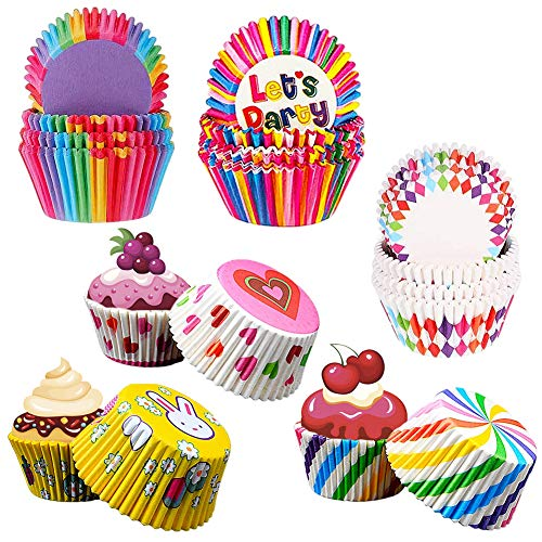Tazas de Pastel, 600 Piezas Papel para Cupcakes, Moldes para Magdalenas, Vasos de Papel para Tartas, Tazas de Horno Arcoíris para el Hogar, Horno, Boda, Fiesta, Cumpleaños