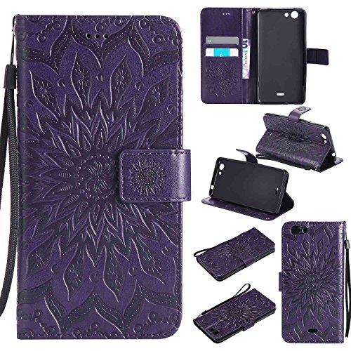 Guran® PU Leder Tasche Etui für Wiko Pulp 3G (5 Zoll) Smartphone Flip Cover Stand Hülle & Karte Slot Hülle-lila