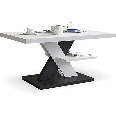 Viosimc Table Basse de Salon Blanche et Noir avec étagère, Table Centrale Blanche Moderne et élégante pour thé et Le café. Design épuré et Un Choix Parfait - Un ajout élégant à n'importe Quel Salon