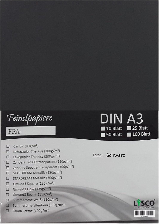 GMUND Transparentpapier DIN A3 Farbe Schwarz   LYSCO® Feinstpapierset mit 100 Blatt Inhalt (FPA-125) - bedruckbar, sehr gute Qualität, für Einladungen, als Einlegeblätter für Alben, Fotoalben, Fensterbilder, Bastelarbeiten uvm. B01