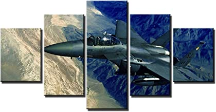 Artbrush Tower Jet Fighter Military Aircraft Wall Pictures US Air Force F-15E Strike Eagle Canvas Art Wall Decor Posters 5 Panels Framed Artwork Home Bedroom Office Decorations Paintings(60''Wx32''H)