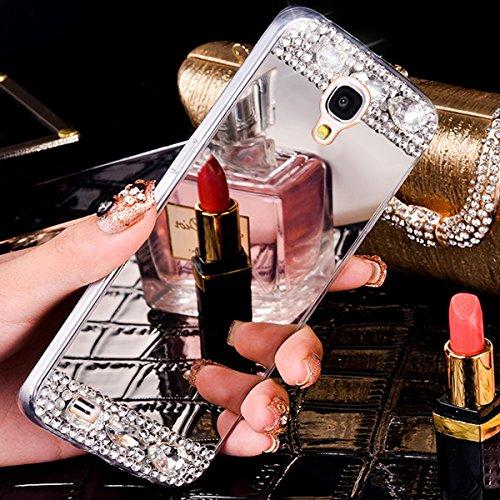 Coque Galaxy S3,Coque Galaxy S3 Neo,ikasus Placage brillant paillettes strass cristal diamant Miroir Silicone Gel TPU Souple Housse Etui de Protection Case Coque Etui pour Galaxy S3/S3 Neo,Argent