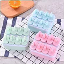 FKou Ice Cream Popsicle Molds Cooking Tools Rectangle Shaped Reusable DIY Frozen Ice Cream Pop Baking Moulds (Color : Pink)