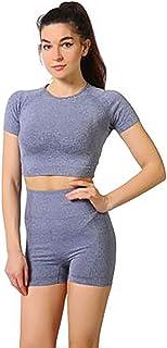 Gym Clothes Set Sportswear Set Women Shorts Sets Outfits 2 Piece Short Sleeve Crew Neck T-Shirt High Waist Short Pants Fit...