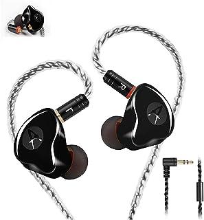 In Ear Monitor Cuffie Auricolari cablati Auricolari Dual Driver con connettore MMCX, Auricolari monitor con isolamento acustico per musicisti (Nero, senza microfono)