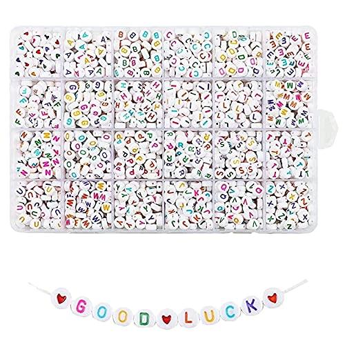 Kaxofang 1200 Piezas Cuentas de Letras Blancas Redondas AcríLicas Coloridas Cuentas del Alfabeto para Hacer Joyas Pulseras Collares Llaveros