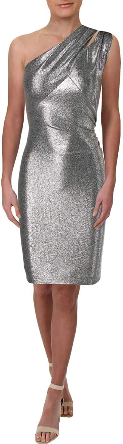 Lauren Ralph Lauren Womens Yumilla Metallic One Shoulder Cocktail Dress