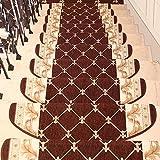 HBY-RUGS Treppe Teppich Matte Jacquard Treppenauflage Runden Treppenhaus Mat Selbstklebend Schritt Teppich Haus Dekoration Treppe Teppich (Color : Coffee(65x24x3cm), Size : 1pc)