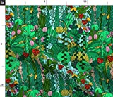 Spoonflower Fabric - Tropical Emerald Forest Green Animals Dragonflies Printed on Fleece Fabric by The Yard - Sewing Blankets Loungewear and No-Sew Projects