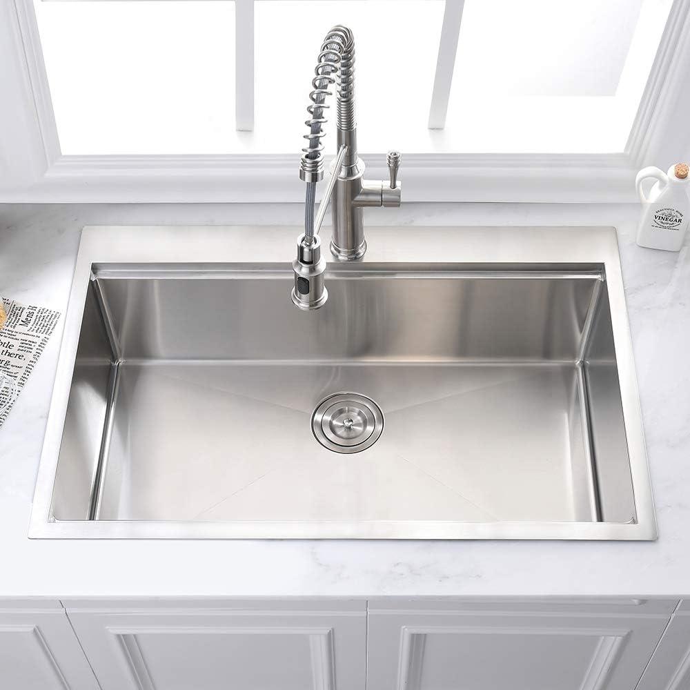 25 Drop In Stainless Steel Kitchen Sink Somrxo 25 Inch Kitchen Sink Topmount 16 Gauge Workstation Ledge Stainless Steel Kitchen Sink 9 Inch Deep Single Bowl Kitchen Sink Kitchen Bar Sinks